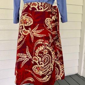 Talbots Silk Floral Wrap Skirt